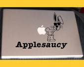 Macbook sticker decal in black or white: Apple-saucy Rabbit Chucking A Moon - Free shipping to Canada and USA