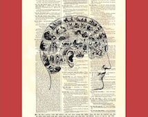 Intricate Phrenology Head Map (phrenology2) - upcycled 8x10 1898 dictionary page print - BONUS - Buy 3 Prints, Get 1 More For FREE