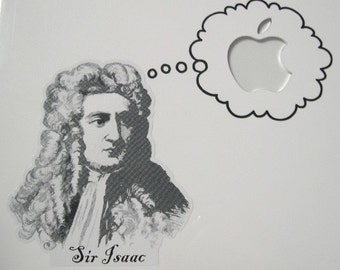 Sir Isaac Thinking Macbook sticker decal in black or white - Free shipping to Canada and USA