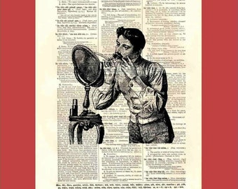 Razor. Mirror. Foam. Shaving Man. - upcycled 8x10 1898 dictionary page print - BONUS - Buy 3 Prints, Get 1 More For FREE