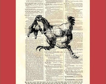 Vintage Giant Chicken Running Away with a Child - upcycled 8x10 1898 dictionary page print - BONUS - Buy 3 Prints, Get 1 More For FREE