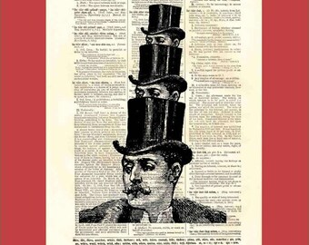 One Hat, Two Hat, Tip Hat, Top Hat - original digital collage - 8x10 1898 dictionary page print - BONUS - Buy 3 Prints, Get 1 More For FREE