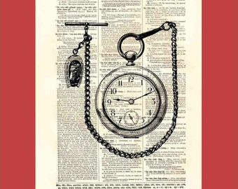 Pocket watch. Vintage pocket watch with chain and fob - upcycled 8x10 1898 dictionary page print - BONUS - Buy 3 Prints, Get 1 More For FREE