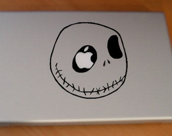 Jack Skellington's Smiling Face Macbook sticker in black or white - Free shipping to Canada and USA