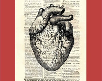 Heart. Heart. Heart. Pump it, pump it up - upcycled 8x10 1898 dictionary page print - BONUS - Buy 3 Prints, Get 1 More For FREE
