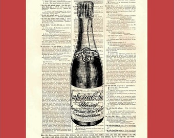 A Little Bottle of Bubbly  - upcycled 8x10 1898 dictionary page print - BONUS - Buy 3 Prints, Get 1 More For FREE