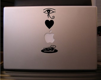 Macbook sticker decal in black or white: I Love Apple Pie - Free shipping to Canada and USA