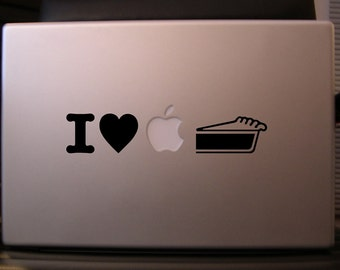 Macbook sticker decal in black or white: I Love Apple Pie Too - Free shipping to Canada and USA