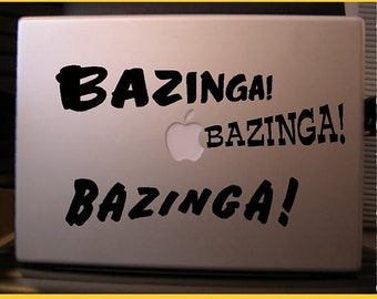 Big Bang Theory: Bazinga vinyl decal set in black or white with a collection of primary coloured balls - Free shipping to Canada and USA .