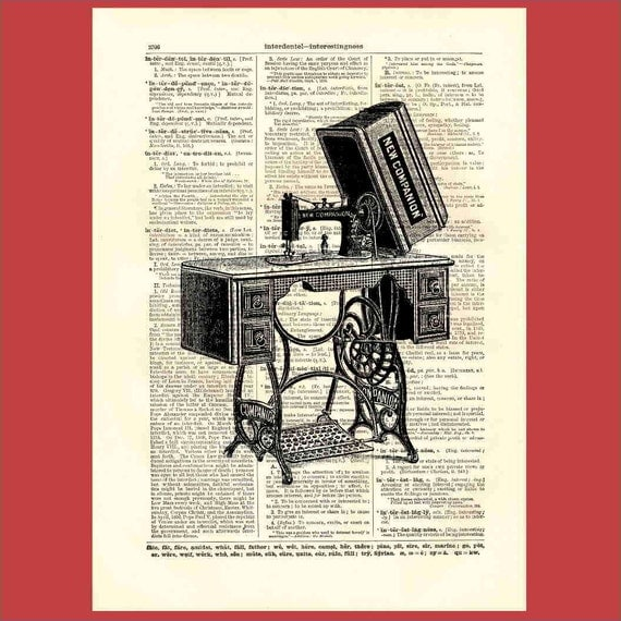 Antique New Companion Sewing Machine All Ready To Rip (sm2) - 8x10 1898 dictionary page print - BONUS - Buy 3 Prints, Get 1 More For FREE