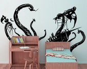 Vinyl Wall Decal Sticker Pirate Ship Attack by Octopus 24inX45in item GFoster166s