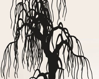 Vinyl Wall Decal Sticker Weeping Willow Tree 153A 65in Tall X 51in Wide