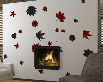 Vinyl Wall Decal Sticker Big Autumn Tree Leaves Falling item 243A
