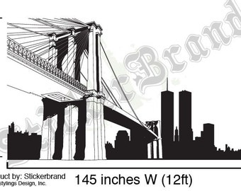 Vinyl Wall Decal Sticker NYC Brooklyn Bridge New York 334A-84x145