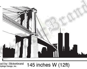 Vinyl Wall Decal Sticker NYC Brooklyn Bridge New York 334A-84x145