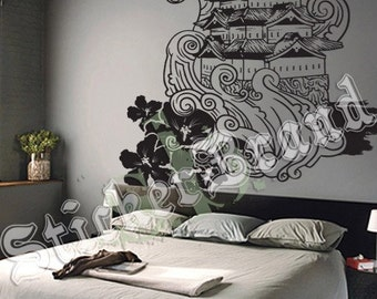 Vinyl Wall Decal Sticker Traditional Japanese Building Typhoon Waves 342B