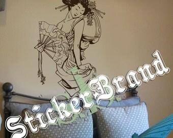 Vinyl Wall Decal Sticker Japanese Geisha w/ Fan 357s
