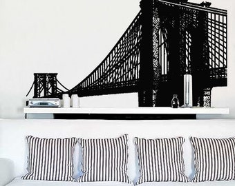 Larger Size Vinyl Wall Decal Sticker Brooklyn Bridge New York NYC 45 tall X 69 Wide