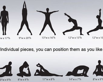 Vinyl Wall Decal Sticker Yoga Poses Silhouette Position item 267A
