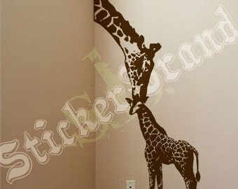 Vinyl Wall Decal Sticker Baby Giraffe w/ Mother 8ft Big