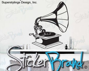 Vinyl Wall Decal Sticker Antique Record Phonograph 408
