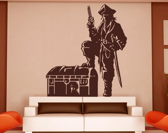 Vinyl Wall Decal Sticker Pirate With Treasure Chest   GFoster143m