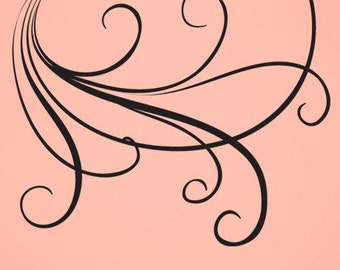 Vinyl Wall Decal Sticker Large Swirl Lines 710A