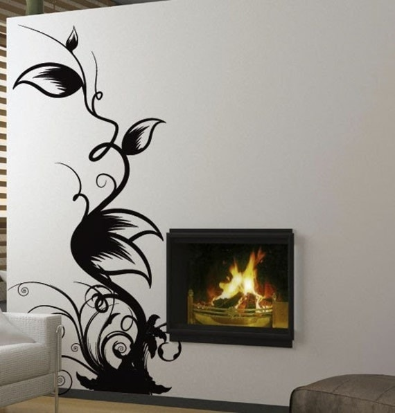 Vinyl Wall Decal Sticker Floral Leaves Swirls 322A