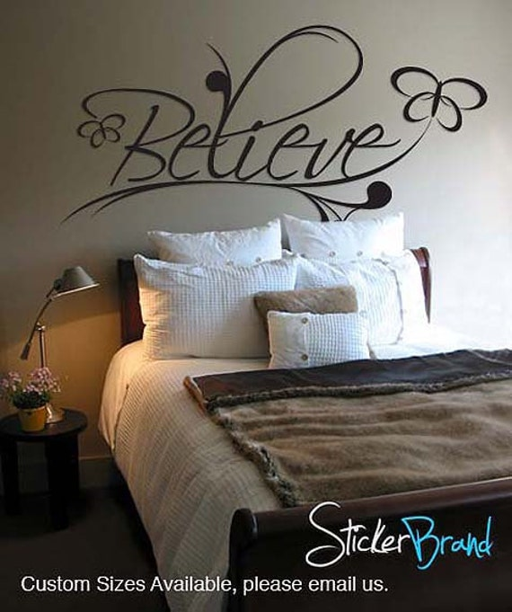 Vinyl Wall Decal Sticker Believe Spiritual Phrase   BHuey116s