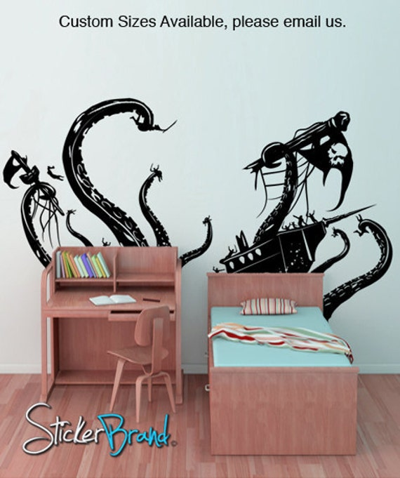 vinyl wall decal sticker pirate ship attack by octopus. Black Bedroom Furniture Sets. Home Design Ideas