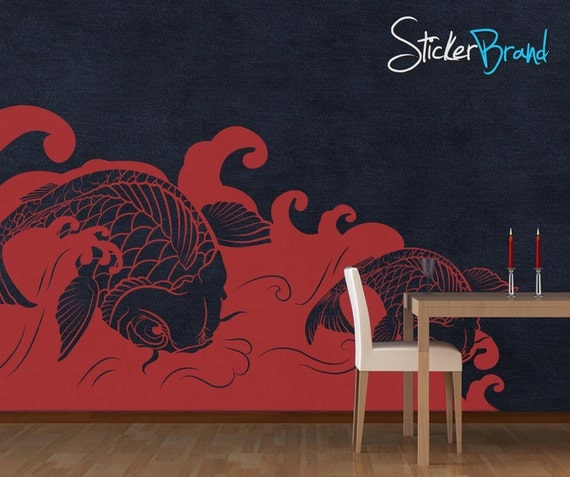 Vinyl Wall Decal Sticker Koi Fish Wave item OSMB118B