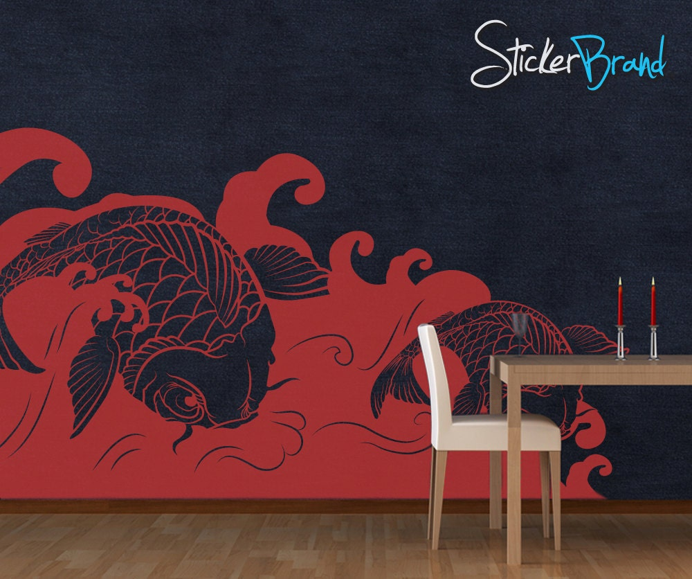 Vinyl wall decal sticker koi fish wave item osmb118b for Koi fish wall stickers