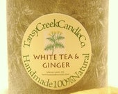 White Tea and Ginger, One Natural Palm Wax Pillar, Aromatherapy Candle