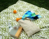 Picnic Beach Blanket in Green and White Modern Leafy Frame