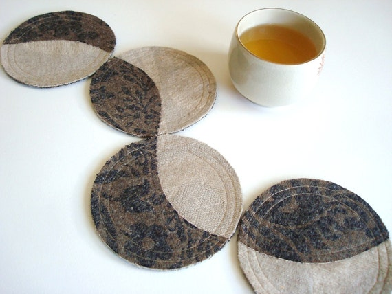 Cotton Felt Coasters / Round / Crescent / Coffee / Gray / Set of 4 / Gift Under 20.00