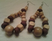 Natural Wood and Brown Polymer Clay Dangle Earrings