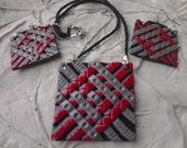 Red and Grey Woven Texture Polymer Clay Necklace and Earring Set