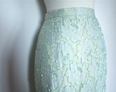 SALE 1970's Seafoam MERMAID VIXEN Lace and Beaded Pencil Skirt with high Slit
