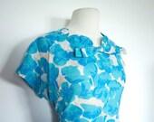 Vintage 1950s BLUE HAWAII Plus Size Floral Day DRESS Rockabilly