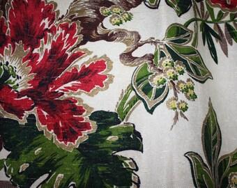 1950s VINTAGE FLORAL Bark Cloth CURTAIN Panel