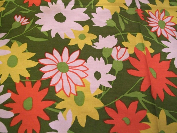 1960s  Fabric, Hippy Boho Flower Power Print Cotton, 50 inchesx50 inches