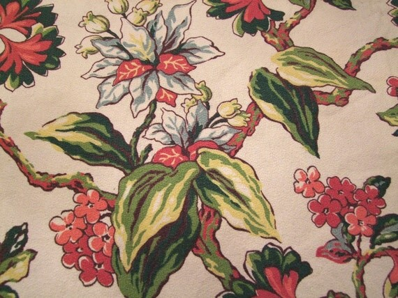 1940s Bark Cloth Curtain Panel Floral Print WOW 89x36 inches by True Value Vintage Vancouver