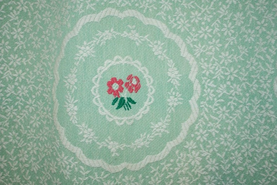 Adorable pale green 1950's BARK CLOTH CURTAIN Panel