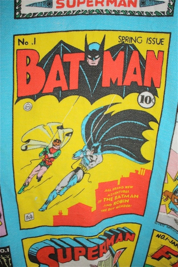 Sale  1975 DC COMIC Bed Spread with BATMAN and Superman and the gang