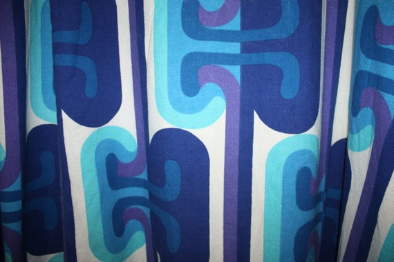 Awesome MOD 1960s VINTAGE BLUE Large Curtain Panel