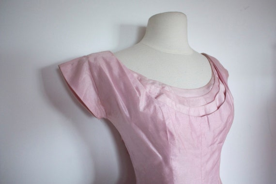 Vintage 1950's PINK Organza PROM Dress with BOW