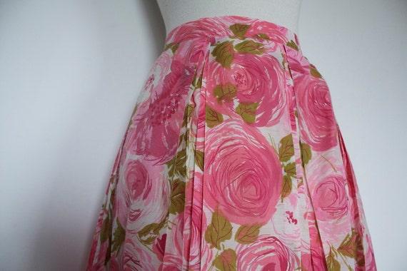 Vintage 1950s PINK ROSES Skirt