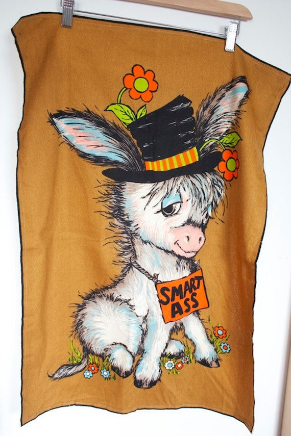 Sale Vintage 1970 S Smart Ass Donkey Tea Towel By