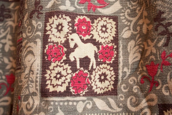 Two Vintage 1940s Barkcloth Curtain Panel with PONIES, Pony Curtain // TWO PANELS