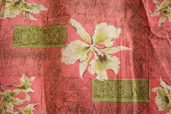 Vintage 1950s TIKI, Floral Print, Pink and Green Fabric Panel